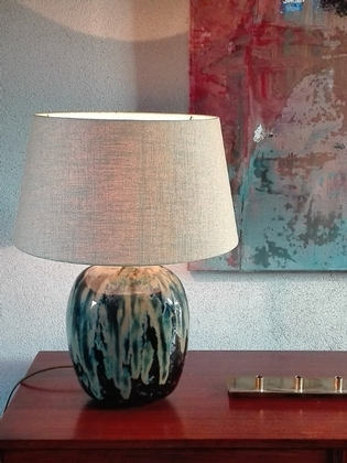 an original ceramic tablelamp and shade