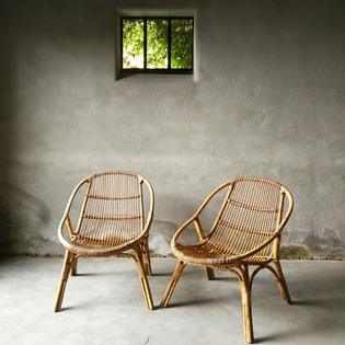 an original pair of rotan fauteuils