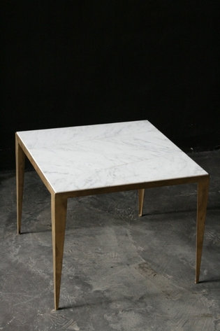Brass and carrara side table