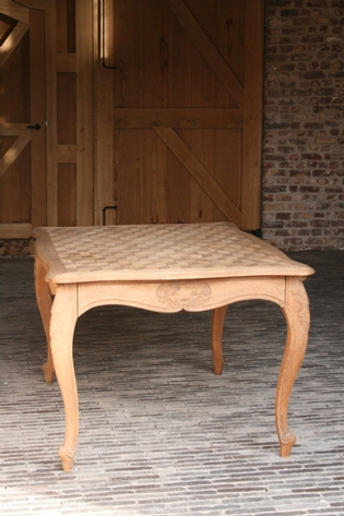 Flemish oak center table with parquetry top