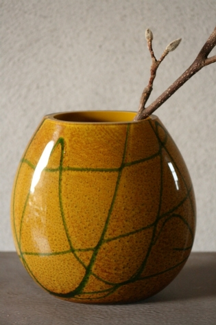 Green and yellow glass vase