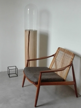 Lounge chair by Hartmut Lohmeyer, teak and cane