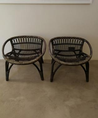 Original black rotan chairs