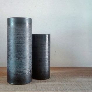 Pair of black and grey ceramic vases