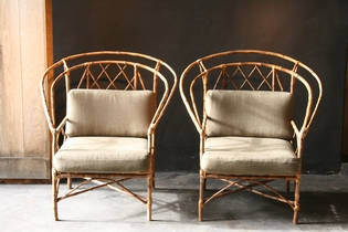 Pair of chinese revival bamboo armchairs