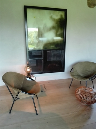 Pair of kaki green suede fauteuils