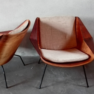 Pair of original unupholstered seats by Cees Braakman for Pastoe