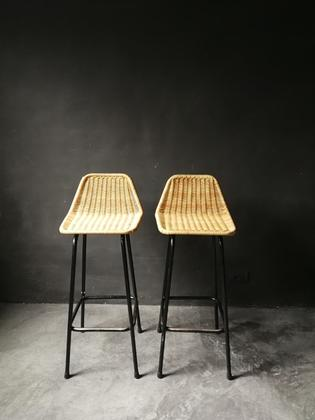 Pair of rattan and black metal stools by van Sliedrecht