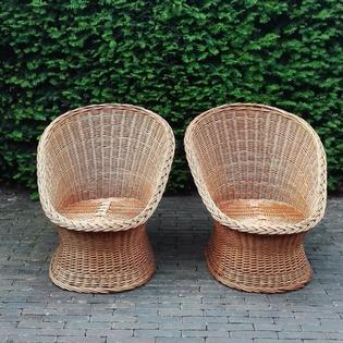 Pair of rotan wicker fauteuils