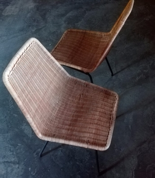 Paire of Dirk Van Sliedrecht rotan chairs, black metal feet