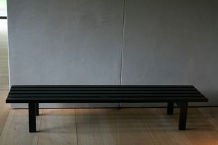 Slated black bench by Martin Visser