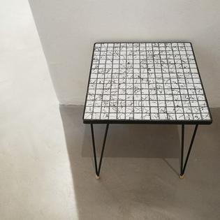 Small black and white mosaic side table