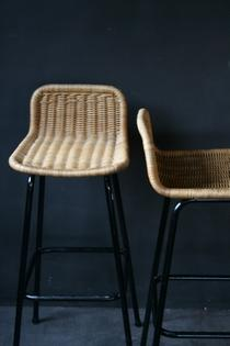 Two pair of barstools in black metal and rotan