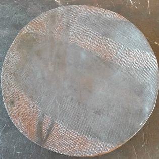 Unusual grey and red ceramic round plate