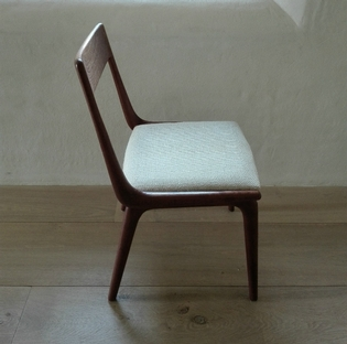 Unusual set of 12 danish boomerang dining chairs by Christensen