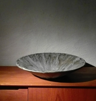 Wooden large grey bowl
